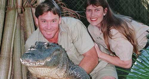 Steve Irwin con su pareja